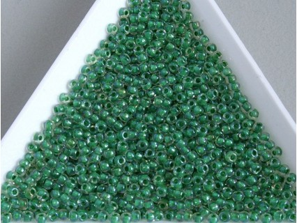 Toho R11-187, Inside-Color Crystal/Shamrock Lined, 10g