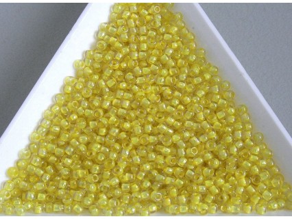 Toho R11-192, Inside-Color Crystal/Yellow Lined, 10g