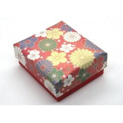 Cutiuta pentru cadouri 65x75x30mm, flori pe fond rosu