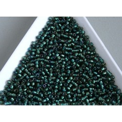 Toho R11-270, Inside-Color Crystal/Prairie Green Lined, 10g