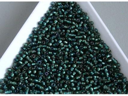Toho R11-270, Inside-Color Crystal/Prairie Green Lined, 10g