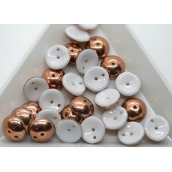 Margele Piggy 4x8mm - pg11 White Capri Gold, 15buc