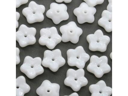Margele Flower Caps 7mm Chalk White, sticla presata Cehia - 20buc (FL65)