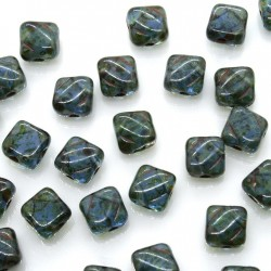 Margele Silky 6mm - Sapphire Travertine - 10buc
