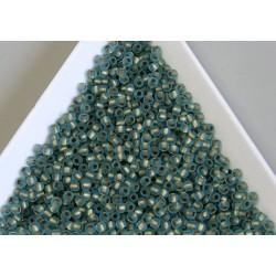Toho R11-995F, Frosted Gold-Lined Aqua, 10g