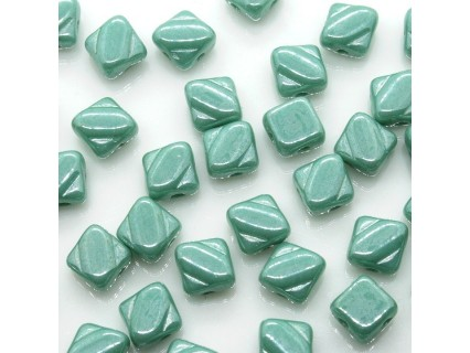 Margele Silky 6mm - Opq Turquoise Luster - 10buc