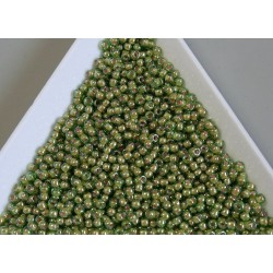 Toho R11-1046, Inside-Color Luster Peridot/Opaque White Lined, 10g