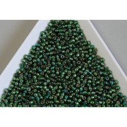 Toho R11-2036, Silver-Lined Rainbow Green Emerald, 10g