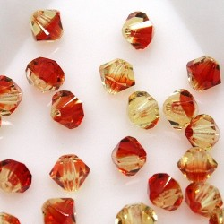 MCR4-11 Fire Opal - margele bicon 4mm MC Rondell - 12x