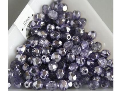 FP 4 - margele sticla Cehia firepolish de 4 mm, culoarea silver/violet (50 buc). CE-04-247