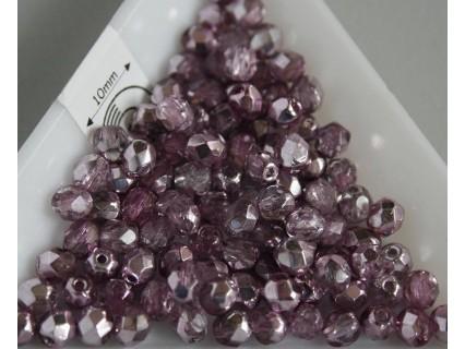 FP04-248 margele sticla Cehia firepolish de 4 mm, culoarea silver/plum (50 buc)